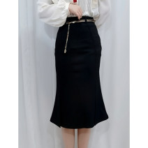 skirt Spring 2021 M,L,XL black Mid length dress Versatile Natural waist other Solid color Type A 30-34 years old K21200 91% (inclusive) - 95% (inclusive) polyester fiber