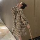 Dress Other / other Khaki, khaki + light grey leggings, khaki + black leggings Average size Korean version Long sleeves Medium length spring Lapel lattice Pure cotton (95% and above)