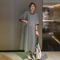 Dress Other / other Black and white stripes Average size Korean version Short sleeve have more cash than can be accounted for summer Crew neck stripe