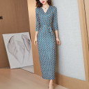 Dress Spring 2021 M,L,XL,2XL,3XL longuette singleton  three quarter sleeve commute V-neck middle-waisted Dot other A-line skirt routine Type H lady Lace up, printed