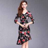 Dress Autumn of 2018 Black print M,L,XL,XXL Mid length dress singleton  three quarter sleeve commute V-neck middle-waisted Decor Socket Irregular skirt routine Type A lady