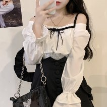 Women's large Spring 2021 Shirt, suspender, skirt M [100 Jin recommended], l [100-115 Jin recommended], XL [115-135 Jin recommended], 2XL [135-150 Jin recommended], 3XL [150-170 Jin recommended], 4XL [170-190 Jin recommended] Two piece set commute Straight cylinder moderate Socket Long sleeves