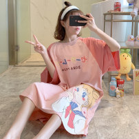 Nightdress Huizi family girl Short sleeve longuette Living clothes summer Cartoon animation youth Crew neck cotton printing 6903# one hundred and sixty ( M ), one hundred and sixty-five ( L ), one hundred and seventy ( XL ), one hundred and seventy-five ( XXL ), A gift for the exclusive collection