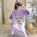 Nightdress Huizi family Cartoon Short sleeve longuette Living clothes Cartoon animation summer youth Crew neck cotton printing 6909# Average size (recommended 85-150 Jin), exclusive real collection, small gift