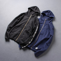 Jacket Other / other Youth fashion Black, dark blue L,XL,2XL,3XL thin Self cultivation Other leisure autumn Long sleeves Wear out Hood British College teenagers short Zipper placket 2019 Cloth hem No iron treatment Loose cuff Solid color Seldingham Rib bottom pendulum Save pocket cotton