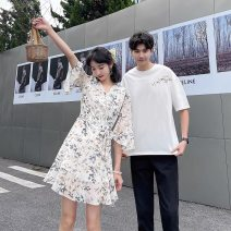 Dress Summer 2021 Skirt [tmall original quality], men's top [tmall original quality], men's pants [tmall original quality] S,M,L,XL,2XL,3XL Mid length dress singleton  Short sleeve commute V-neck Decor A-line skirt routine 18-24 years old Type A Other / other Korean version More than 95% Chiffon