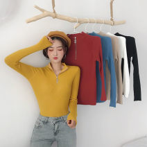 Wool knitwear Winter 2020 Average size Blue, khaki, white, black, brick red, turmeric Long sleeves singleton  Socket other 31% (inclusive) - 50% (inclusive) commute Self cultivation Half height crew neck routine Solid color Korean version