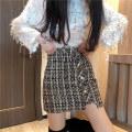 skirt Spring 2021 S,M,L Black, Khaki Short skirt commute High waist A-line skirt lattice Type A 18-24 years old 81% (inclusive) - 90% (inclusive) Wool polyester fiber zipper Korean version