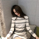 Dress Autumn 2020 White, black Average size Miniskirt singleton  Long sleeves commute Crew neck High waist stripe Socket A-line skirt routine Type X Other / other Korean version 81% (inclusive) - 90% (inclusive) knitting