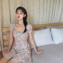 Dress Summer 2020 White flower, blue flower S,M,L Mid length dress singleton  Short sleeve commute square neck Socket A-line skirt routine Others 18-24 years old Korean version