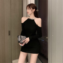 Dress Autumn 2020 Black, gray Average size Short skirt singleton  Long sleeves commute Crew neck High waist Solid color Socket One pace skirt routine Hollow out, inlaid with diamond, three-dimensional decoration cotton
