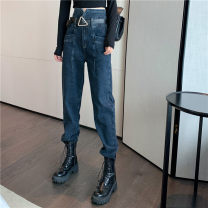 Jeans Autumn 2020 Blue grey trousers, blue grey trousers with belt S,M,L trousers High waist Haren pants routine 18-24 years old Coated denim Dark color 51% (inclusive) - 70% (inclusive)