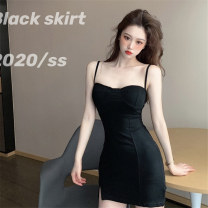 Dress Summer 2020 White, black Average size Short skirt singleton  Sleeveless commute High waist Solid color Socket A-line skirt other camisole 18-24 years old Type A Korean version 71% (inclusive) - 80% (inclusive)