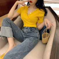 Wool knitwear Summer 2020 Average size White, yellow, black Short sleeve singleton  Socket other 31% (inclusive) - 50% (inclusive) Super short routine commute Self cultivation V-neck routine Solid color Socket Korean version 18-24 years old Other / other