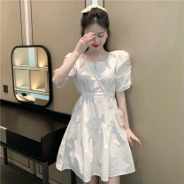 Dress Summer 2020 white Average size Middle-skirt singleton  Short sleeve commute square neck Elastic waist Solid color Socket A-line skirt other Others 18-24 years old Type A Other / other Korean version Pleats, lace UPS, beads, sequins