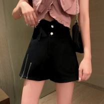 Casual pants black S,M,L,XL Summer 2020 shorts Wide leg pants High waist routine zipper