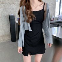 short coat Summer 2020 Average size Grey coat, black suspender skirt Long sleeves have cash less than that is registered in the accounts Thin money Two piece set Self cultivation commute routine V-neck Solid color 18-24 years old 31% (inclusive) - 50% (inclusive) cotton cotton