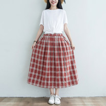 skirt Summer 2020 Elastic waist (skirt piece) red-checkered pattern Mid length dress commute High waist A-line skirt Type A S275 Double Pocket Blue MIG pleated skirt literature