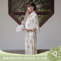 cheongsam Summer 2021 S,M,L Dark blue, off white, dark blue second batch, off white second batch Long sleeves long cheongsam Retro High slit daily Round lapel lattice 18-25 years old Piping Chuandai time 96% and above