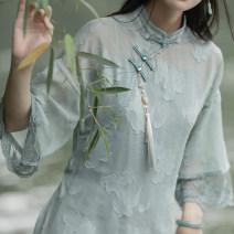 cheongsam Summer 2021 S,M,L Yanqing green Qipao, grey green suspender skirt, the second batch of Yanqing green Qipao, the second batch of grey green suspender skirt, the third batch of Yanqing green Qipao, the third batch of grey green suspender skirt Long sleeves long cheongsam No slits daily