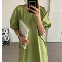 Dress Summer 2021 Apricot , blue , Fruit green Average size Mid length dress singleton  Short sleeve commute Crew neck Loose waist Solid color Princess Dress 18-24 years old Type H Korean version