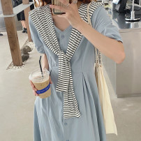Dress Summer 2021 Picture color Average size Mid length dress Fake two pieces Short sleeve commute V-neck High waist Solid color Single breasted Princess Dress puff sleeve 18-24 years old Type A Korean version