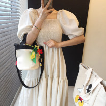 Dress Summer 2021 Average size longuette singleton  Short sleeve commute One word collar middle-waisted Solid color Socket A-line skirt puff sleeve 18-24 years old Type A Korean version brocade
