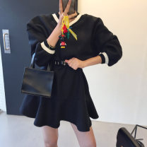 Dress Winter 2020 Black, white, blue Average size Short skirt singleton  Long sleeves commute High waist Solid color Socket A-line skirt routine 18-24 years old Type A Korean version Splicing polyester fiber