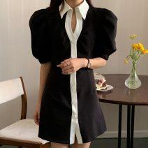 Dress Summer 2021 black S, M Short skirt singleton  Short sleeve commute High waist A-line skirt puff sleeve 18-24 years old Type X Korean version