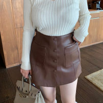 skirt Spring 2021 XS,S,M,L,XL,2XL Black, coffee, cream white, elephant grey Short skirt commute High waist A-line skirt Solid color Type A 25-29 years old More than 95% other other Button Korean version