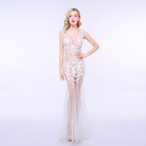 Dress / evening wear S,M,L,XL Off white, black, pink sexy longuette middle-waisted Spring of 2018 fish tail Deep collar V zipper Netting 18-25 years old T027 Sleeveless Embroidery Solid color other other
