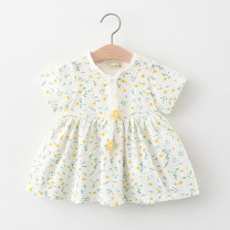 Dress Yellow, pink female Other / other 66cm,73cm,80cm,85cm,90cm,95cm,100cm Cotton 95% PVC 5% summer fresh Skirt / vest Broken flowers Cotton blended fabric Irregular other 12 months, 3 years, 18 months, 9 months, 6 months, 2 years Chinese Mainland