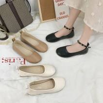 Low top shoes 35,36,37,38,39 Schelbach / hilbach Black, beige, khaki Round head PU Flat bottom Low heel (1-3cm) Shallow mouth PU Summer 2020 Flat buckle Korean version Adhesive shoes Youth (18-40 years old) Solid color rubber Mary Jane shoes Shallow mouth, cross strap, waterproof platform PU daily