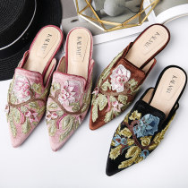 slipper 35 36 37 38 39 40 Kalmall / karinmeer Black blue flower Brown Cowboy blue cowboy red black green flower red yellow pink Flat bottom Low heel (1-3cm) Suede Fall 2017 Baotou Rubber foaming daily Europe and America Adhesive shoes Youth (18-40 years old) Plants and flowers flower Microfiber skin