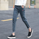 Jeans Youth fashion Others 28,29,30,31,32,33,34 routine Micro bomb Regular denim Ninth pants Other leisure summer teenagers Medium low back Slim feet tide 2017 Pencil pants zipper washing cotton