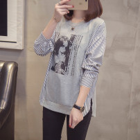 Middle aged and old women's wear Winter of 2019 Grey, white XL (100-125 kg), 2XL (125-150 kg), 3XL (150-175 kg), 4XL (175-200 kg) fashion T-shirt easy singleton  stripe 40-49 years old Socket moderate Crew neck routine shirt sleeve Other / other Diamond inlay cotton 81% (inclusive) - 90% (inclusive)