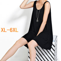 Dress Summer of 2019 Black, white, grey Mid length dress singleton  Sleeveless commute Crew neck Loose waist Solid color Socket Big swing routine camisole 18-24 years old Type A Korean version other modal