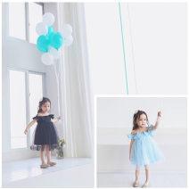 Dress Sky blue, black female Other / other 90cm,100cm,110cm,120cm,130cm Other 100% summer lady Skirt / vest Solid color Cotton blended fabric Lotus leaf edge 3, 4, 5, 6, 7