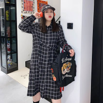 Women's large Winter 2020 Dress singleton  commute easy thickening Cardigan Long sleeves lattice Korean version Polo collar Medium length Wool, others Three dimensional cutting routine Other / other 25-29 years old Three dimensional decoration other