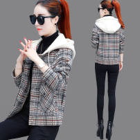 woolen coat Autumn 2020 S,M,L,XL,2XL Brown, orange, brown with cotton thickening, orange with cotton thickening polyester fiber 81% (inclusive) - 90% (inclusive) have cash less than that is registered in the accounts Long sleeves Single breasted Hood lattice A-5 Other / other