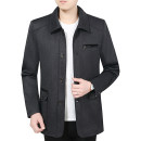 Jacket Other / other Business gentleman routine standard Other leisure autumn Polyester 70% Cotton 30% Long sleeves Wear out stand collar Business Casual middle age Medium length Single breasted 2021 Straight hem washing More than two bags) Zipper bag cotton 70% (inclusive) - 79% (inclusive)