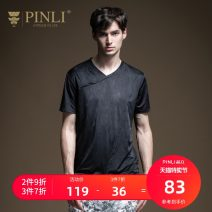 T-shirt Fashion City black routine M170 L175 XL180 XXL185 XXXL190 Pinli Short sleeve V-neck standard Other leisure summer B202511276 Polyester fiber 91.9% polyurethane elastic fiber (spandex) 8.1% youth routine tide Summer 2020 Solid color Same model in shopping mall (sold online and offline)