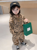 suit Other / other Pink, coffee 80cm,90cm,100cm,110cm,120cm,130cm female spring and autumn Korean version Long sleeve + pants routine There are models in the real shooting Socket nothing Cartoon animation cotton children Expression of love 325-3 Cotton 95% other 5%