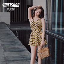 one piece  Yi Meishan M L XL Memories of Huang One piece flat corner swimsuit Steel strap breast pad Spandex others YMS218202 Spring 2021 no female Sleeveless Casual swimsuit
