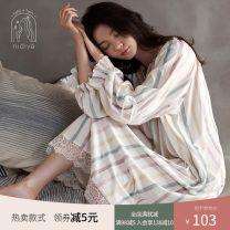 Nightdress Nidia Qf20308 white (Rainbow Stripe) qf20306 white (light green stripe) qf20307 white (sweet flower) qf20356 white (color wave point) ff20355 white (sweet strawberry) tf0346 shrimp powder (sweet love) ff20310 (Fashion stripe) S M L XL Sweet Long sleeves Leisure home Middle-skirt autumn