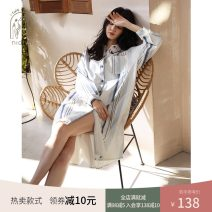 Nightdress Nidia Picture color S M L XL Simplicity Long sleeves Leisure home Middle-skirt spring stripe youth Shirt collar cotton printing More than 95% pure cotton 200g and below Spring 2021 Cotton 100% Pure e-commerce (online only)