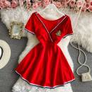 Dress Spring 2021 Red, white, black M, L Short skirt singleton  Short sleeve commute V-neck High waist Solid color Socket A-line skirt other 18-24 years old Type A Other / other Sticking cloth 30% and below other other