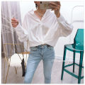 shirt White, green Average size Spring of 2019 other 31% (inclusive) - 50% (inclusive) Long sleeves commute Short style (40cm < length ≤ 50cm) stand collar Single row multi button shirt sleeve Solid color Korean version S2940