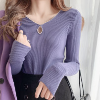 Wool knitwear Autumn 2020 Average weight recommended 80-130 Jin Off white, black, purple, naked pink Long sleeves singleton  Socket nylon 81% (inclusive) - 90% (inclusive) Regular routine commute Self cultivation V-neck routine Solid color Socket 25-29 years old Diamond inlay