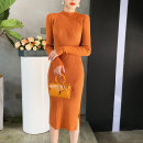 Dress Autumn of 2019 White, gray, black, khaki, apricot Average size Mid length dress singleton  Short sleeve commute Crew neck High waist Solid color Socket Pencil skirt other Others 25-29 years old Type H 81% (inclusive) - 90% (inclusive) knitting nylon